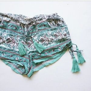 Cotton Candy Shorts - Cotton Candy Turquoise Boho Chic Festival Shorts